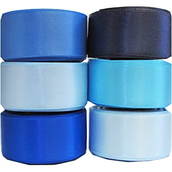 """Q-YO Grosgrain/Satin Ribbon Combo for Crafts Gift Package Wrapping, Hair Bow Clips & Accessories Making, Sewing, Wedding Decor (7/8"""" 6x5yd Satin Ribbons-Blue Tone)"""