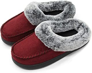 1d4bcfd49f4 ULTRAIDEAS Women s Comfort Micro Suede Memory Foam Slippers Non Skid House  Shoes w Faux Fur