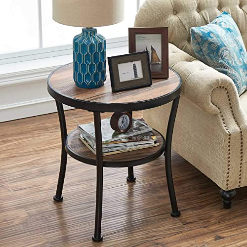 lowest O&K lowest Furniture Round End Table/Side Table/Nightstand - Rustic Industrial Style, new arrival Vintage Brown Finish(1-Pcs) online sale