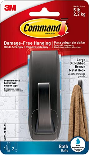 Command Modern Reflections Metal Bath Hook, Large, Oil Rubbed Bronze, 1-Hook with Water-Resistant Strips (MR03-ORBB-E...