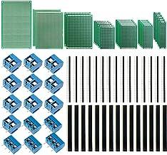 IZOKEE 70 Piezas PCB Prototipo Kit, 7 Tamaños de Placa Prototipos Doble Cara con 40 Pines 2.54mm Conector de Cabeza Macho Hembra y 5mm Bloque de Terminales de Tornillo para Arduino