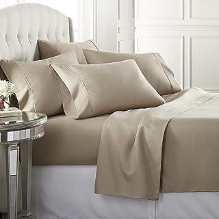 6 Piece Hotel Luxury Soft 1800 Series Premium Bed Sheets Set, Deep Pockets, Hypoallergenic, Wrinkle & Fade Resistant Beddi...