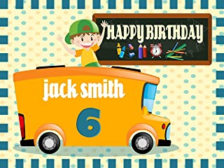 Custom Home Décor School Bus Birthday Banner, Personalized back to school, kids decoration, school banner, Birthday Banner Wall Décor, Handmade Party Supply Poster Print Size 24x36, 48x24, 48x36
