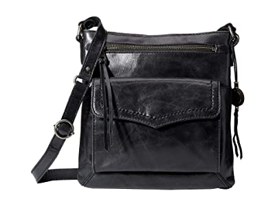 The Sak Ventura Leather Flap Organizer Crossbody (Black) Handbags