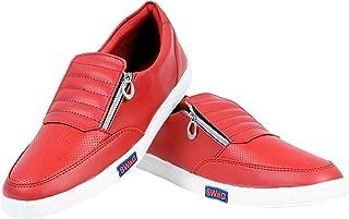 Goodluck Enterprises Men's Casual Shoes with Zip (Color :red,Size : 9)