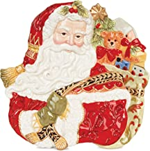 Fitz and Floyd Damask Holiday Collection Santa Face Canape Plate, Vintage Red & Gold