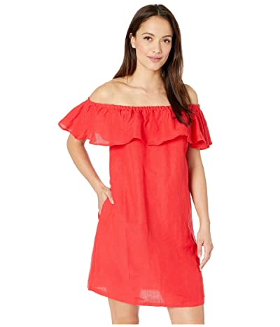 Tommy Bahama Linen Dye Off the Shoulder Dress Cover-Up (Cerise) Women