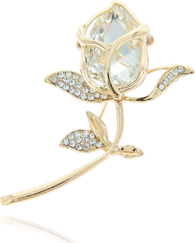SP Sophia Collection Women's Classy Single Rose & Stem Austrian Crystal Brooch Pin