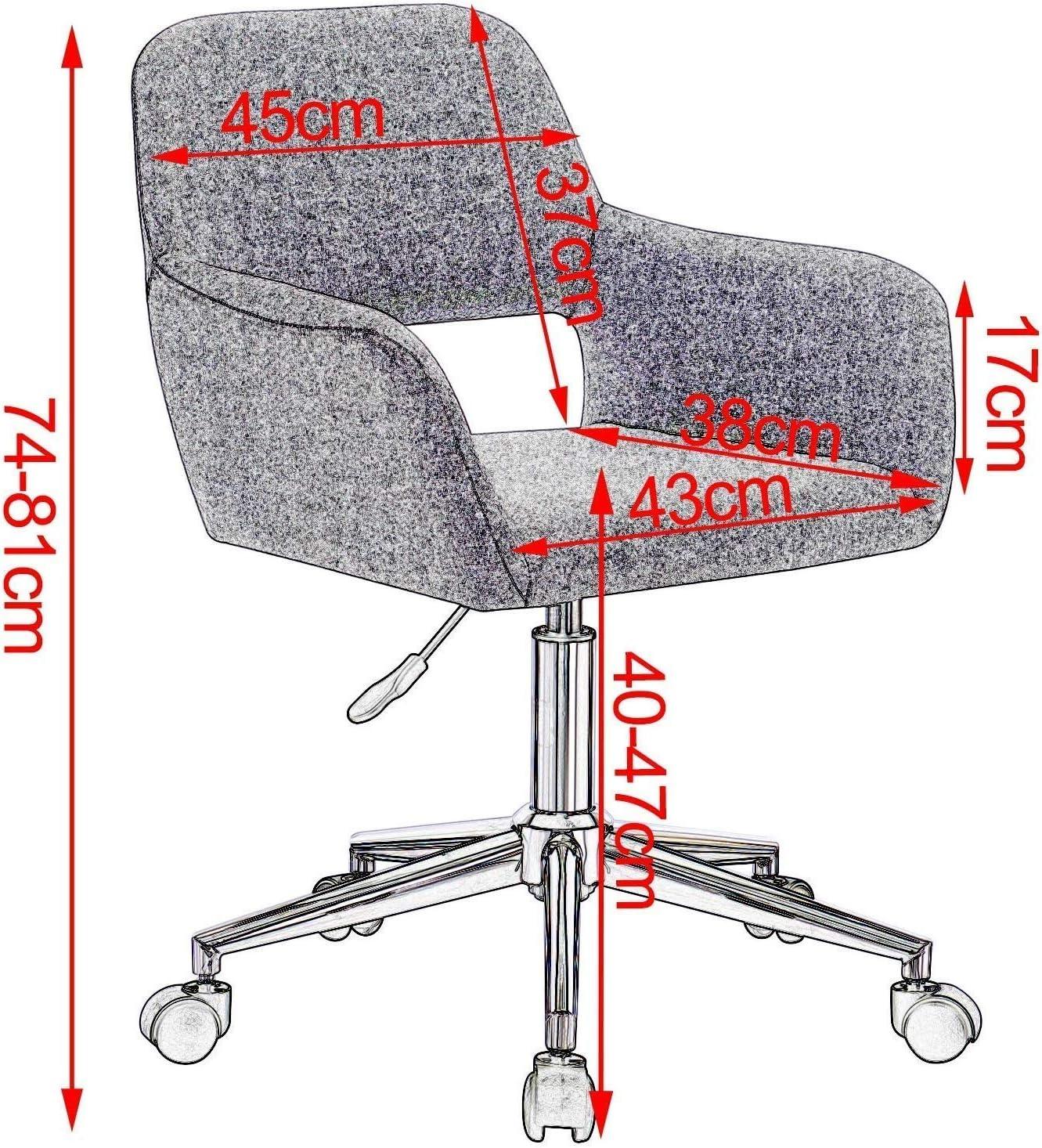 AYHa Chaise de bureau en tissu Dossier informatique Chaise pivotante Bureau Tabouret Linen Accoudoirs réglable en hauteur,rouge Rouge