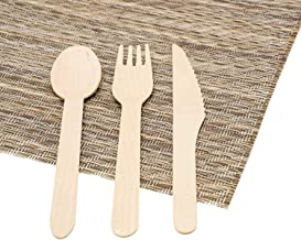 Wooden Cutlery Set - Forks (25), Knives (25) and Spoons (25) - Disposable - Eco Friendly - Compostable - Biodegradable - f...
