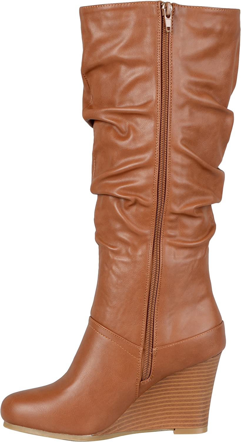 Journee Collection Womens Regular Sized and Wide-Calf Slouch Knee-High Wedge Dress Boot