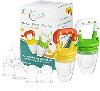 Baby Fruit Feeder Pacifier (2 Pack), Fresh Food Feeding Teether for Toddler, BPA Free, Soothing Gum Relief, Infant Silicon...