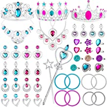 WATINC 48Pack Princess Pretend Jewelry Toy,Girl's Jewelry Dress Up Play Set,Included Crowns, Necklaces,Wands, Rings,Earrings andBracelets,48 Pack