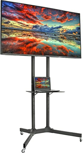 VIVO Mobile TV Cart for 32-65 inch LCD LED Plasma Flat Panel Screen TVs up to 110 lbs, Pro Height Adjustable Rolling ...