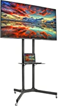 VIVO Black Rolling TV Cart for 32 to 65 inch LCD LED Plasma Flat Panel Screen | Mobile Stand with Wheels (STAND-TV03E)