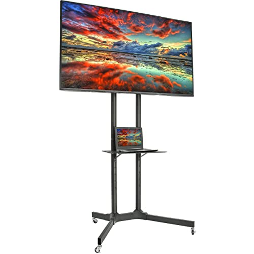 VIVO Mobile TV Cart for 32-65 inch LCD LED Plasma Flat Panel Screen TVs up to 110 lbs   Pro Height Adjustable Rolling Black Stand with Laptop Shelf & Locking Wheels - Max VESA 600x400 (STAND-TV03E)