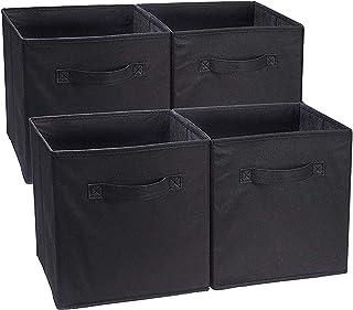 JMYDecor Lot de 4 boîtes de rangement pliables en tissu avec poignées pour linge, maison, bureau, jouets, crèche, organisa...