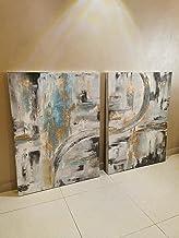 لوحة تجريدية فاخرة ذات نسيج فائق لتزيين الجدران، طلاء يدوي بألوان أكريليك، لوحة جدارية أصلية