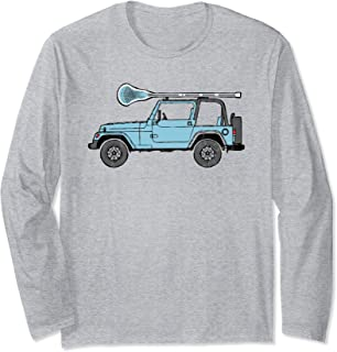 Retro Hippie SUV Off-Road Vehicle Lacrosse Lax Graphic  Long Sleeve T-Shirt