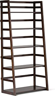 Simpli Home AXSS008KD Acadian Solid Wood 63 inch x 30 inch Rustic Ladder Shelf Bookcase in Tobacco Brown