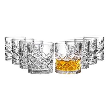 Clovelly Lowball Whiskey Glasses, 8 Pc. Set, 10.6 ounce Short Drinking Glassware for Liquor, Bourbon, Rye, or Beer, Elegant Drinkware for Men or Women, Dishwasher Safe (Lowball)