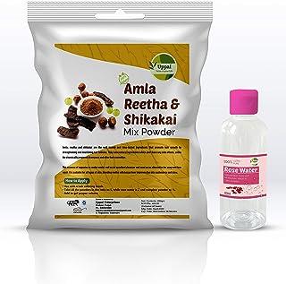 Natural Amla, Reetha, Shikakai Mix Powder Hair Pack-Safe for Reducing Hair Fall-Natural Hair Conditioner with Rose Water (...