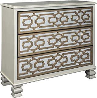Ashley Furniture Signature Design - Senzernell 3-Drawer Accent Cabinet - Contemporary - Geometric Pattern on Mirror Panel Drawer Fronts - Silver/Gold Finish
