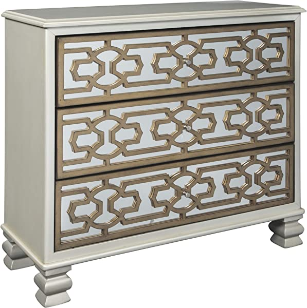 Ashley Furniture Signature Design Senzernell 3 Drawer Accent Cabinet Contemporary Geometric Pattern On Mirror Panel Drawer Fronts Silver Gold Finish