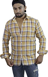 Spanish One Look Mens Long Sleeve 100% Cotton Regular Fit Button Down Casual Shirts Dress in Yellow Printed Check Shirt for Men