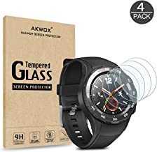 AKWOX (Pack of 4) for Huawei Watch 2 / Watch 2 Sport Tempered Glass Screen Protector, (Full Screen Coverage) Anti-Scratch, Anti-Fingerprint, Bubble Free, Lifetime Replacement