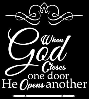 Omega When god Closes one Door he Opens Another Vinyl Decal Sticker Quote - Small - White