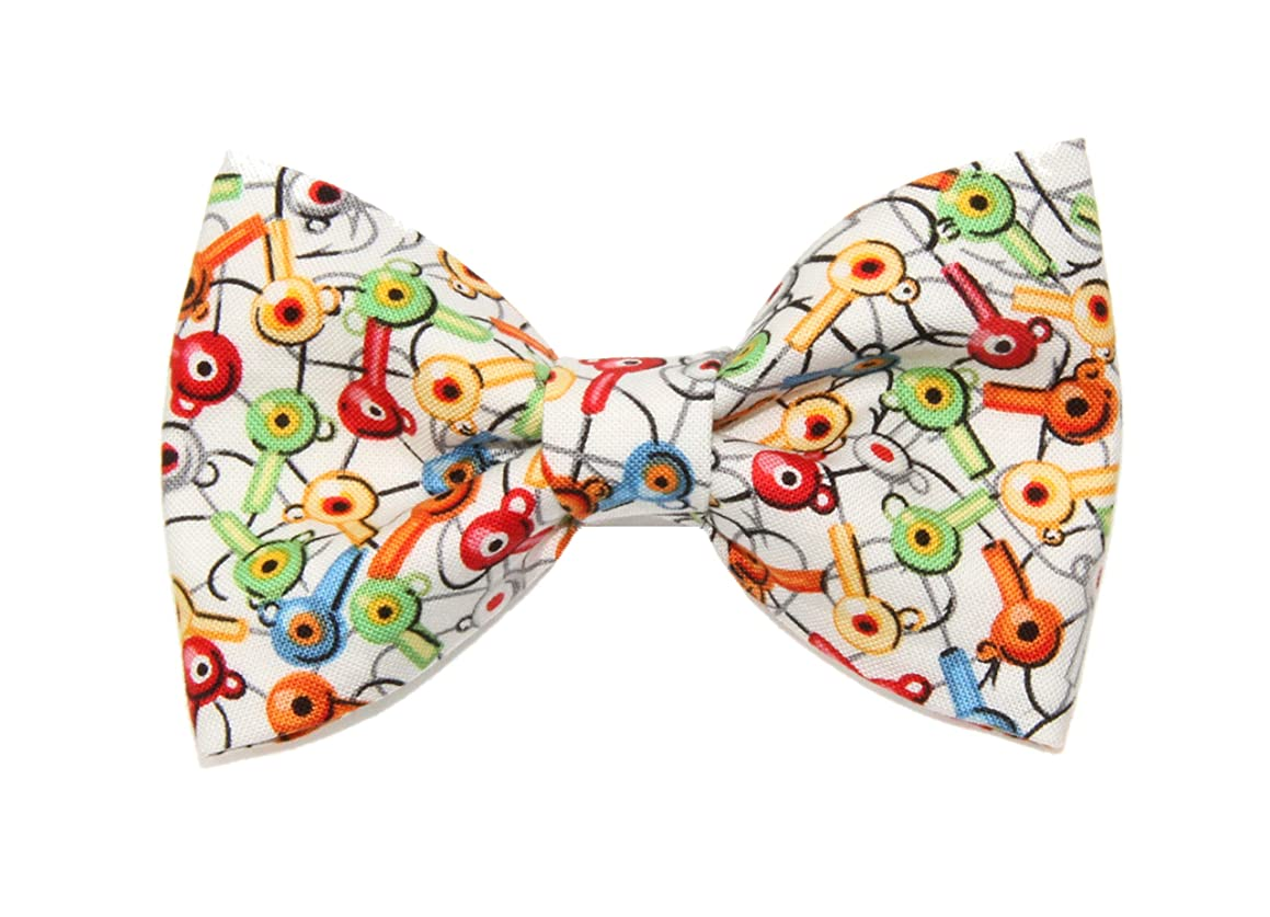 Boys Colorful Jig Head Fishing Clip On Cotton Bow Tie