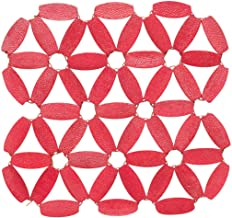 Now Designs Azores Bamboo Tile Coasters, Red, Set of 4