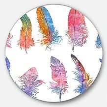 "Designart ""Rainbow Feathers, Raster Illustration Floral Round"" Wall Art, 11 x 11"", Red/Blue"