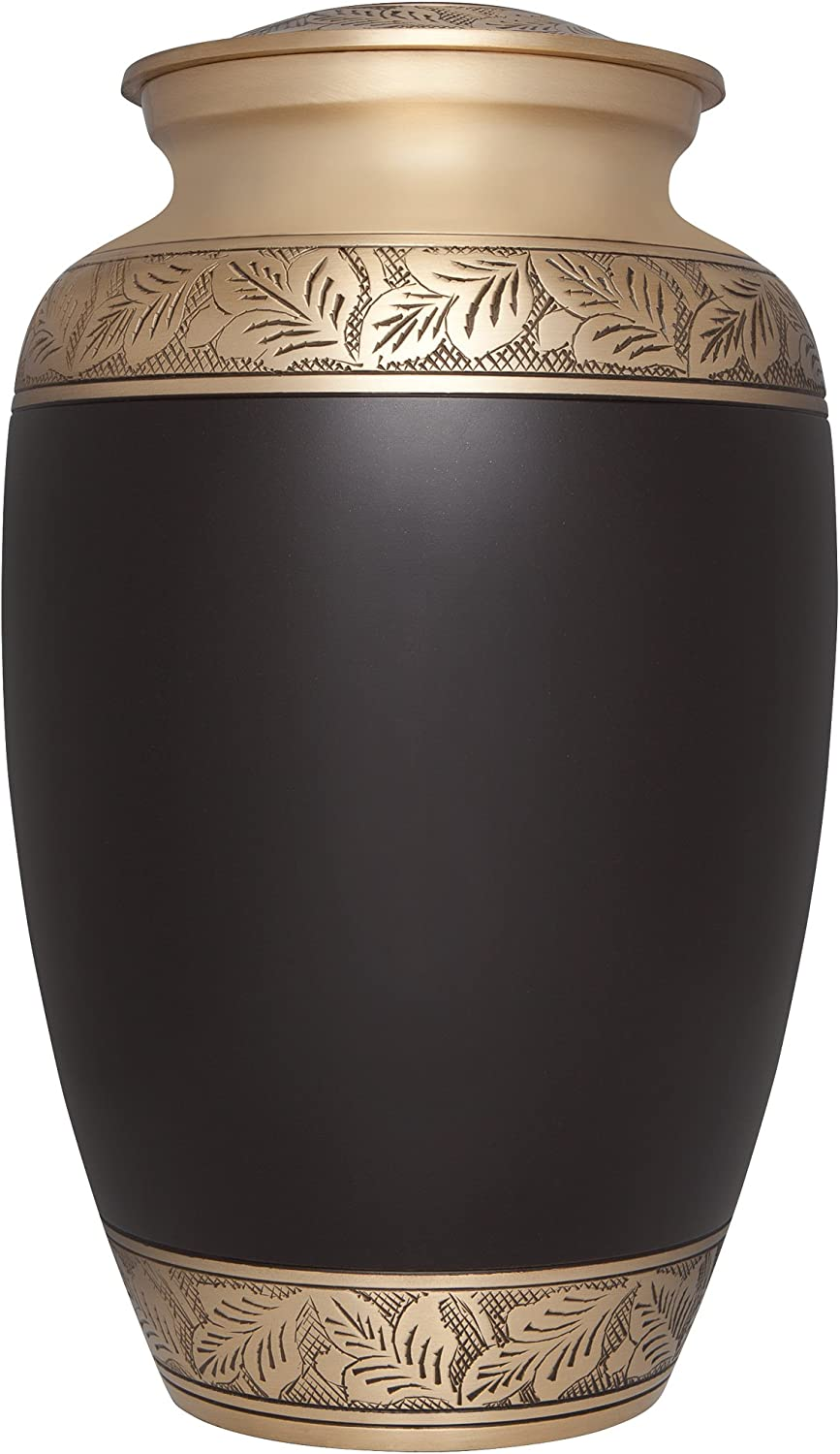 Brown Funeral Urn by Liliane Memorials - Cremation Urn for Human Ashes - Hand Made in Brass - Suitable for Cemetery Burial or Niche - Large Size fits remains of Adults up to 200 lbs - Yiyani Model