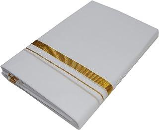 Mcr Men's Cotton Kassavu Double Mundu Dhoti (White)