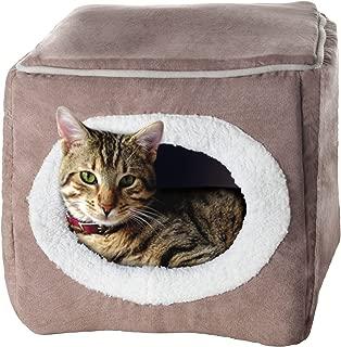 PETMAKER Cozy Cave Enclosed Cube Pet Bed - Light Coffee