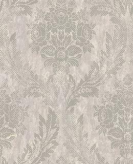 Floral Damask Silver Wallpaper Gray Laurels Modern Design Vintage Spin