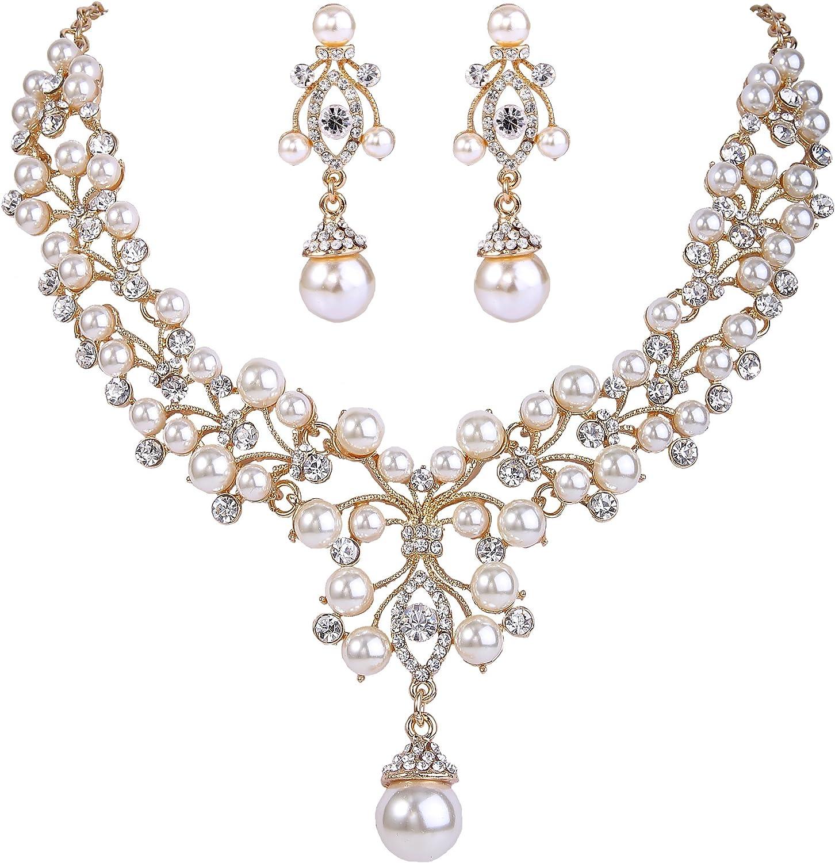 EVER FAITH Flower Simulated Pearl Wedding Jewelry Set Clear Austrian Crystal