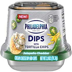 Philadelphia Dips Jalapeno Cheddar Cream Cheese Dip with Tortilla Chips (2.8 oz. Cup)