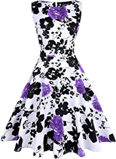 e35be04396 OTEN Women s Vintage 1950s Tea Dress Floral Spring Garden Party Rockabilly  Cocktail Swing Dresses