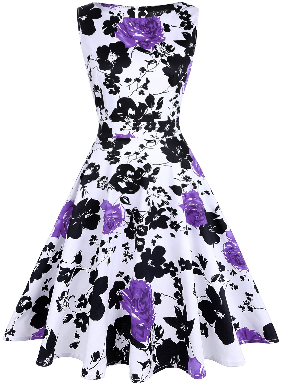 Available at Amazon: oten Women's Vintage 1950s Tea Dress Floral Spring Garden Party Rockabilly Cocktail Swing Dresses