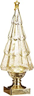 Sparkle Goldtone Christmas Tree Lighted 13.75 inch Acrylic Decorative Tabletop Figurine