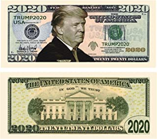 American Art Classics Pack of 50 - Donald Trump 2020 Re-Election Presidential Dollar Bill - Limited Edition Novelty Dollar Bill - The Best Gift Or Keepsake for Lovers of Our Great President