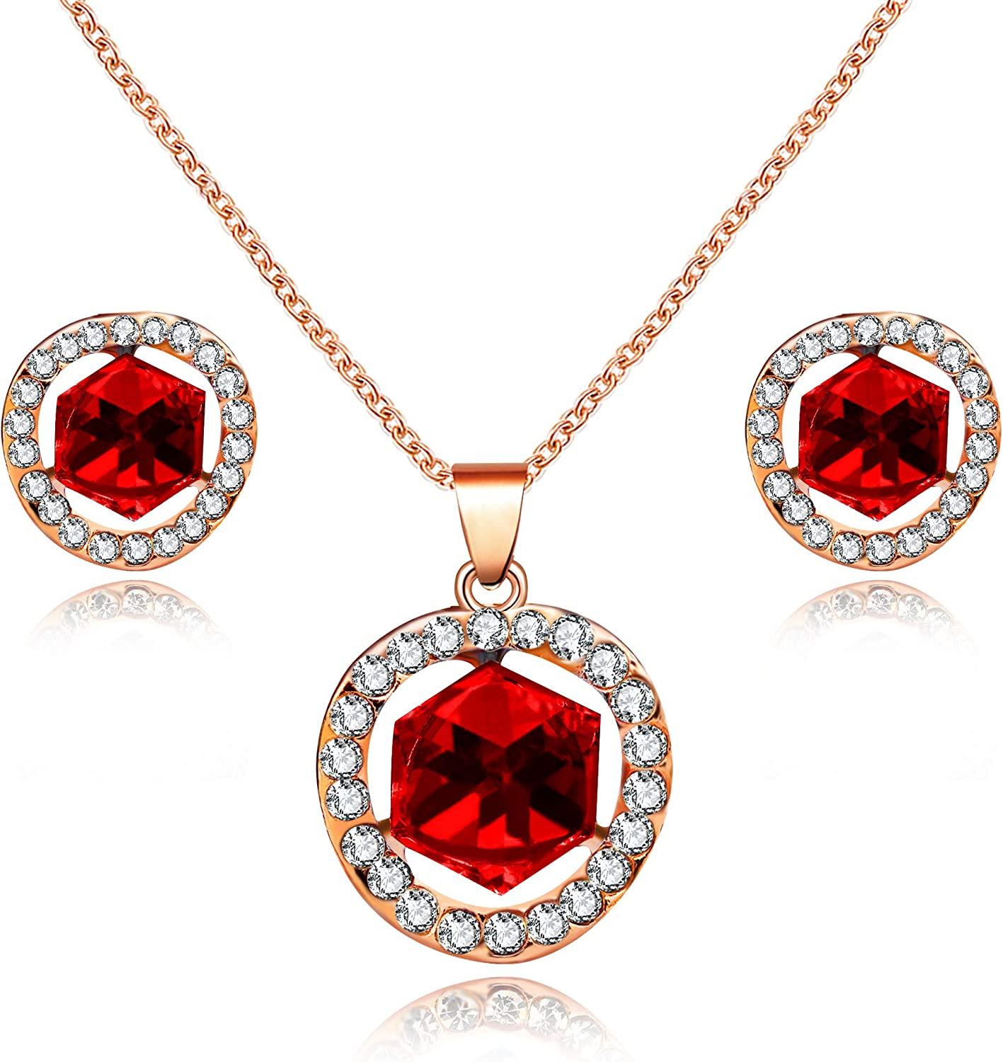 Uloveido Women's Rose Gold Plated Square Cube Crystal Necklace and Stud Earrings Set Wedding Party Jewelry Set for Girl Y453 (Red, Blue)