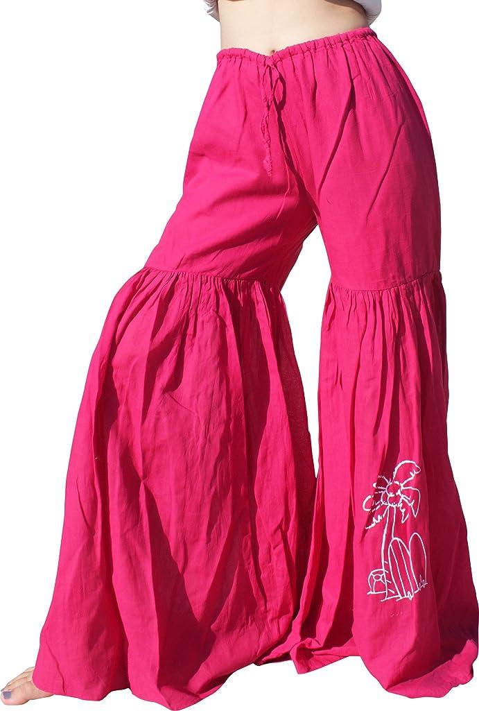Raan Pah Muang RaanPahMuang Cotton Gypsy Boho Casual Pants With Surfboard Palm Ball Print