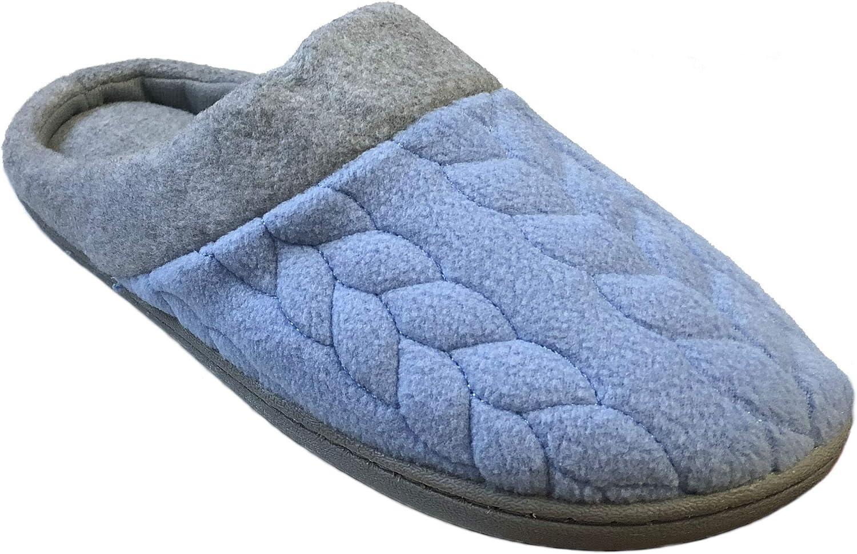 Dearfoams Women's Quilted Fleece Clog Memory Foam Slipper