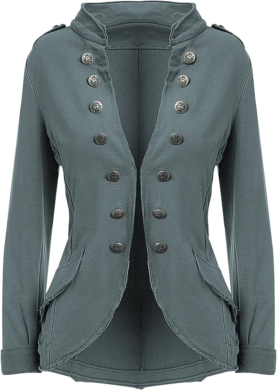 YSU Damen Blazer Damenjacke Military Knöpfe S-XXXL 4XL 5XL Urban Streetwear ideal auch für Karneval Karnevalskostüm Khaki