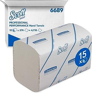 SCOTT* PERFORMANCE Toallas Secamanos Interplegadas 6689 - 15 paquetes x 274 toallas de color blanco y 1 capa, pequeño