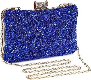 Bolso de Noche Plata, Clutch Mujer Fiesta Ceremonia Cartera de Mano Bolso de Embrague Strass para Boda Novia con Cadena (Azul)